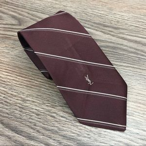 Yves Saint Laurent Maroon w/ Grey Stripe Tie